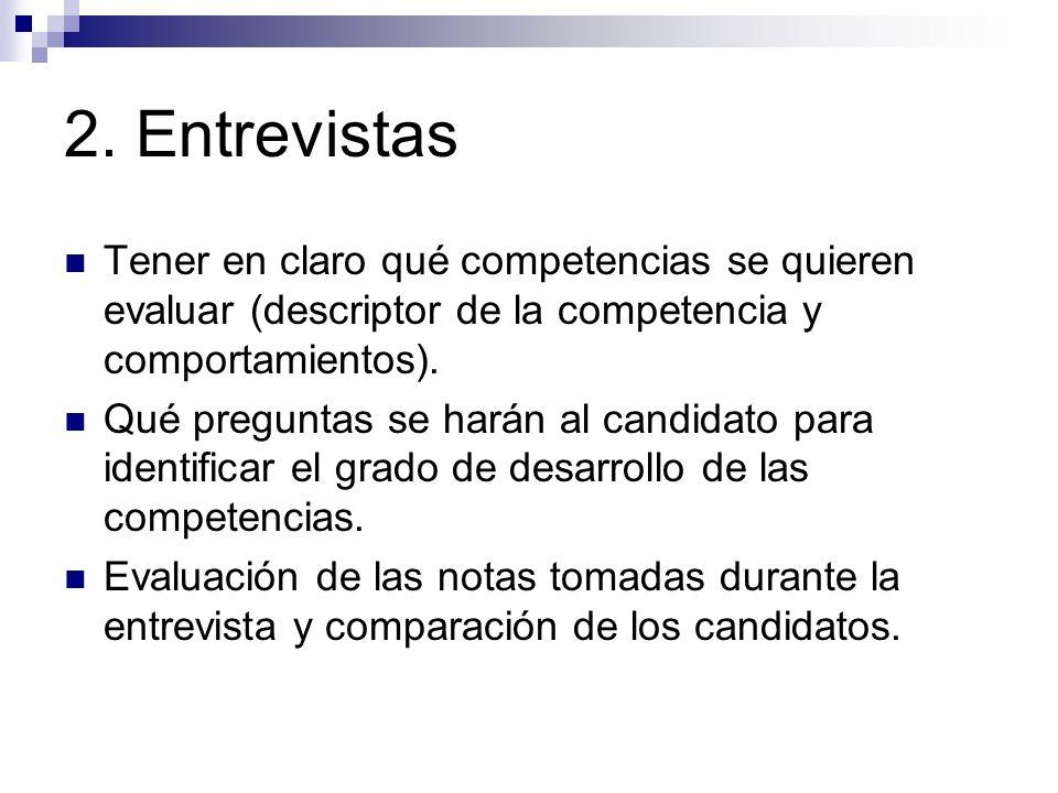 2. Entrevistas Tener en claro qué competencias se quieren evaluar (descriptor de la competencia y comportamientos).