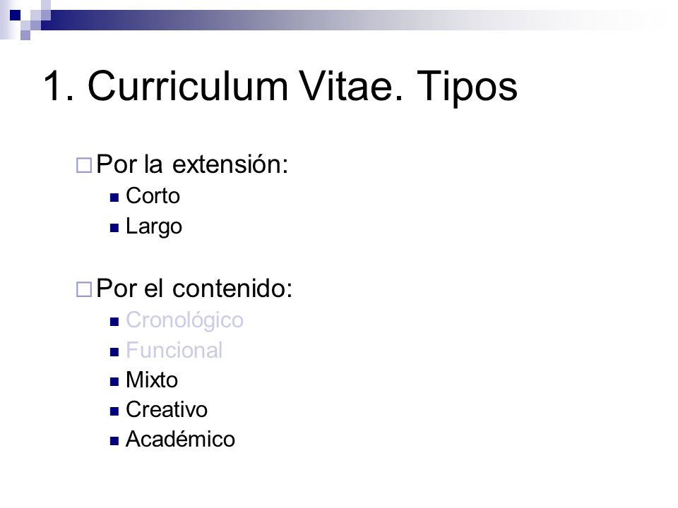 1. Curriculum Vitae. Tipos