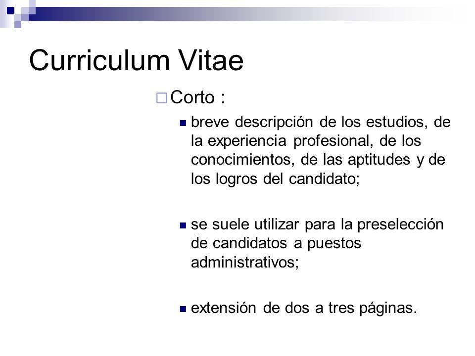 Curriculum Vitae Corto :