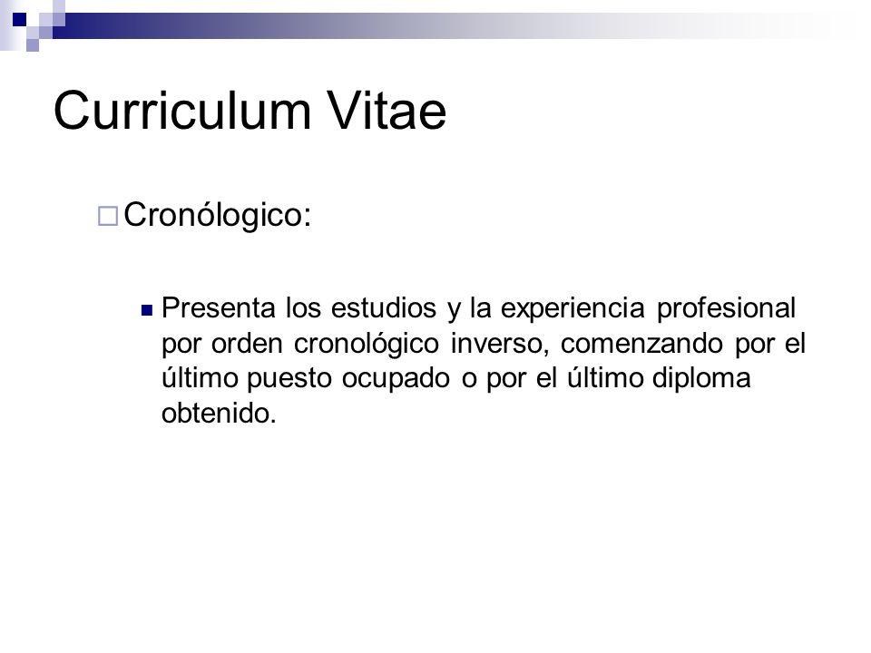 Curriculum Vitae Cronólogico: