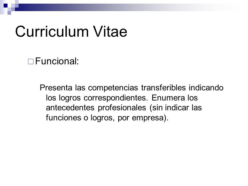 Curriculum Vitae Funcional: