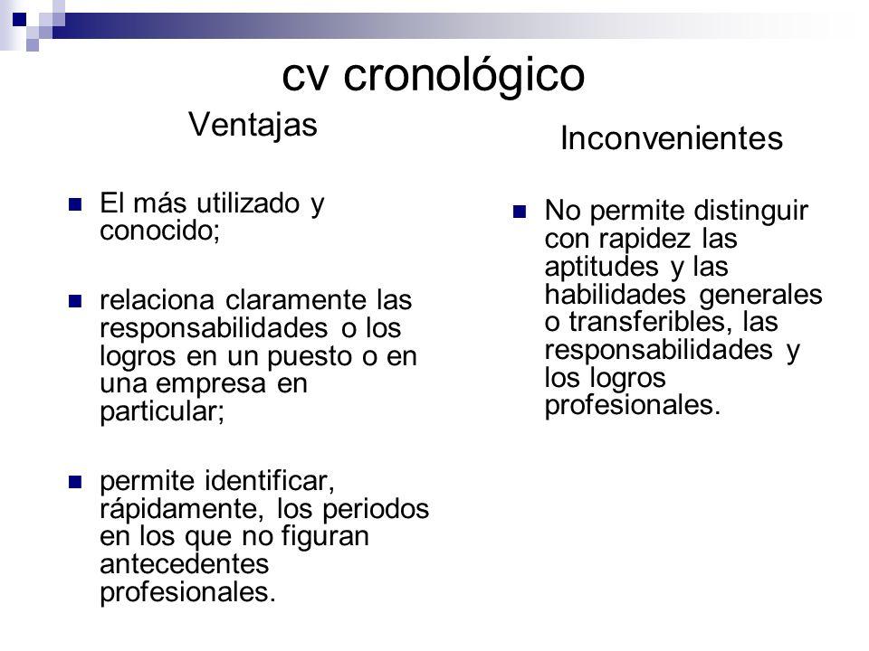 cv cronológico Ventajas Inconvenientes El más utilizado y conocido;