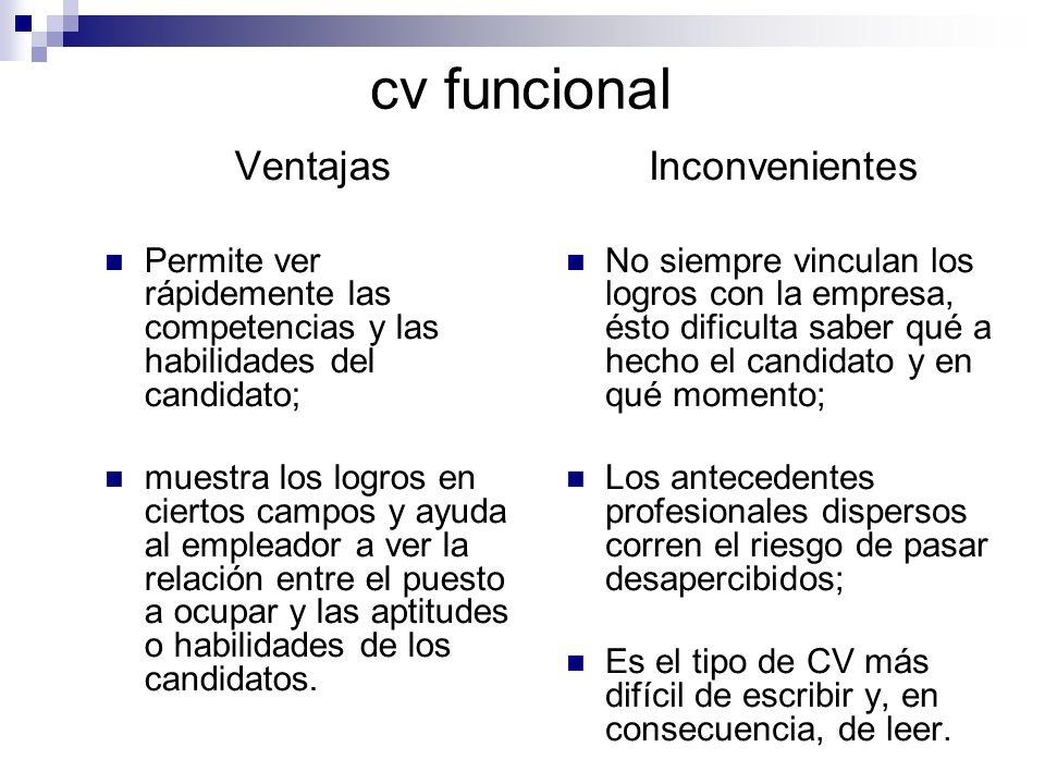 cv funcional Ventajas Inconvenientes