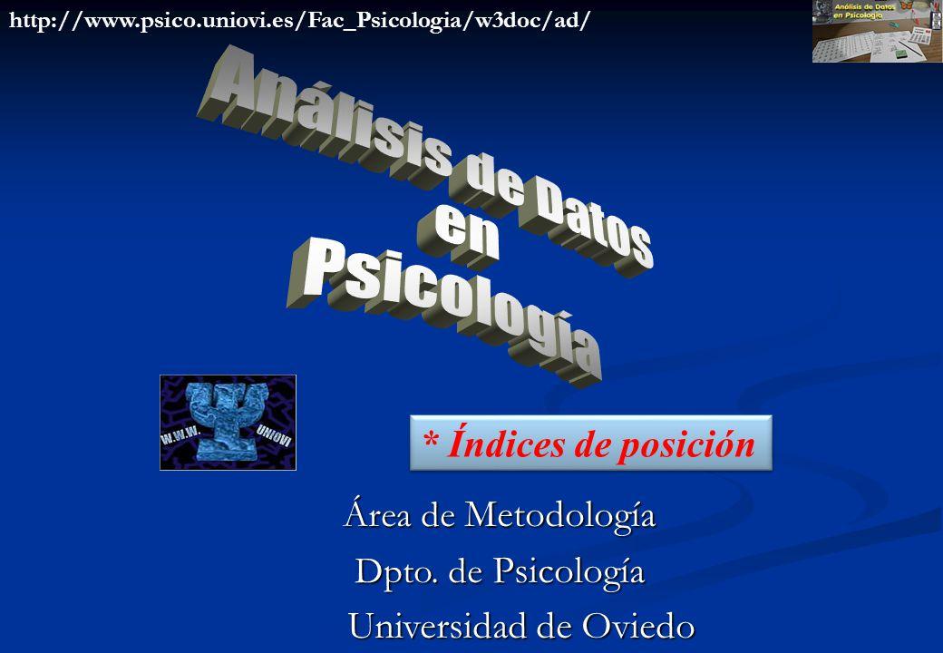 Análisis de Datos en Psicología * Índices de posición
