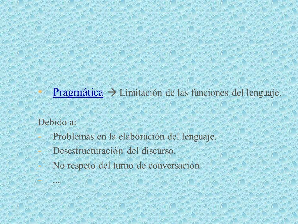 Pragmática  Limitación de las funciones del lenguaje.