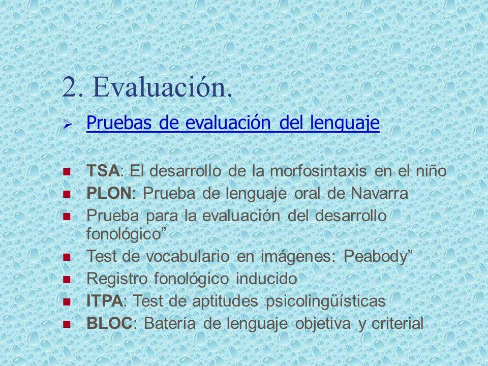 2. Evaluación. Pruebas de evaluación del lenguaje