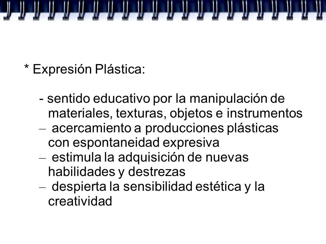 * Expresión Plástica: - sentido educativo por la manipulación de materiales, texturas, objetos e instrumentos.