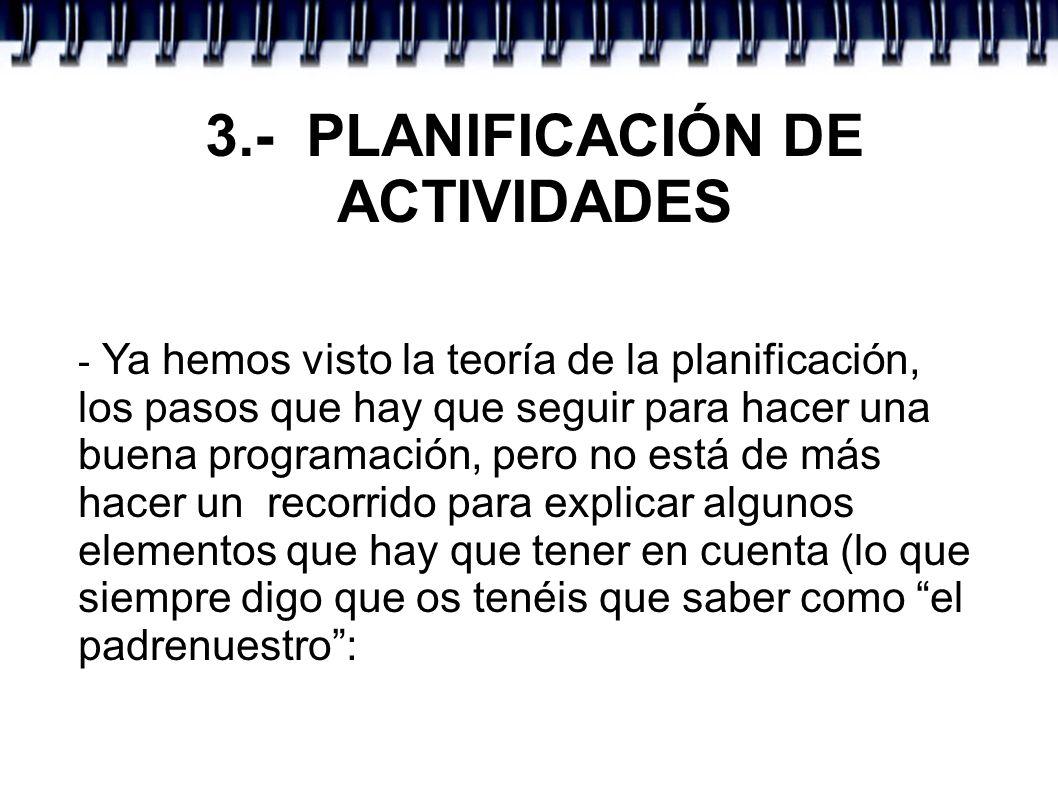 3.- PLANIFICACIÓN DE ACTIVIDADES