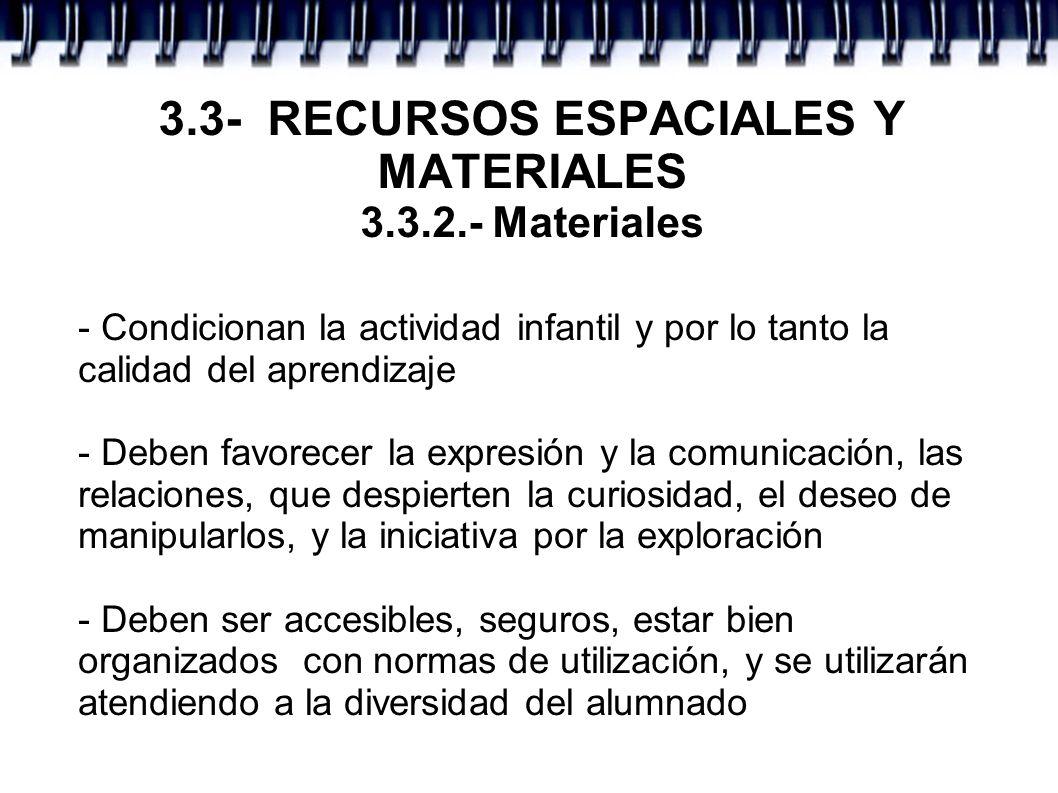 3.3- RECURSOS ESPACIALES Y MATERIALES 3.3.2.- Materiales