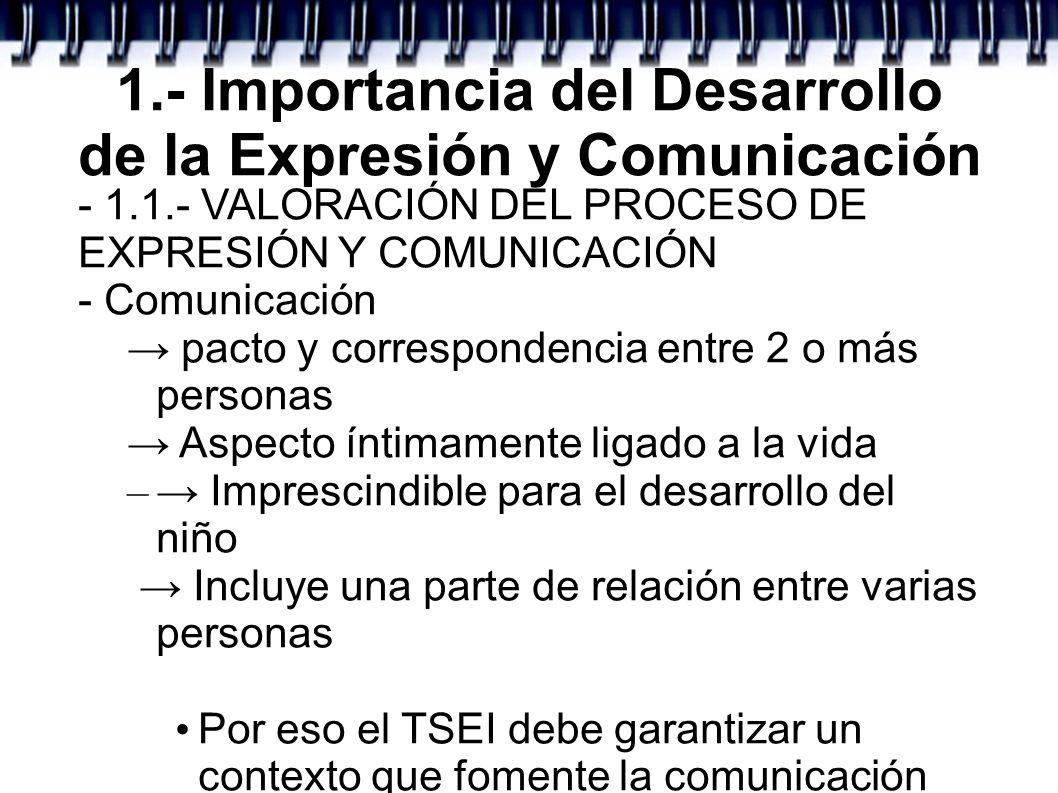 1.- Importancia del Desarrollo de la Expresión y Comunicación