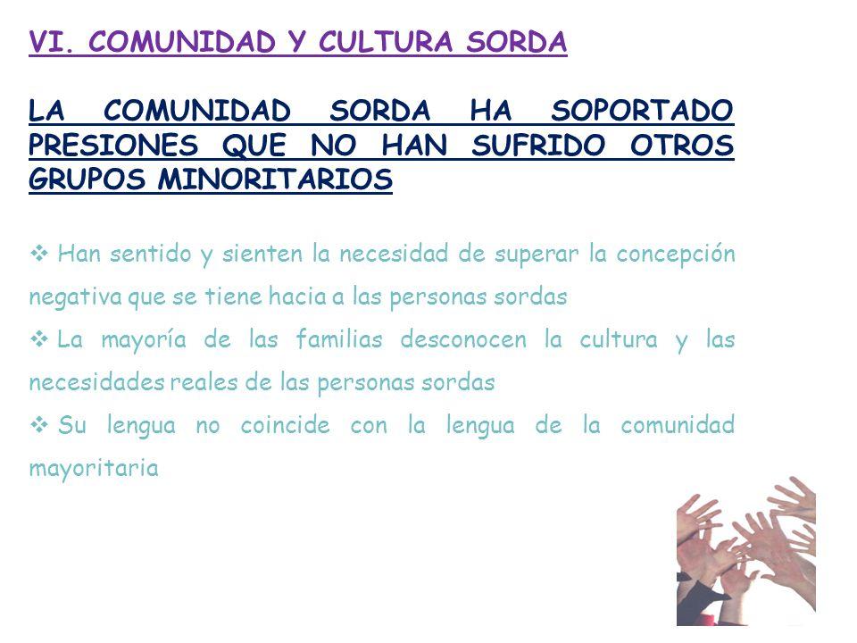 VI. COMUNIDAD Y CULTURA SORDA