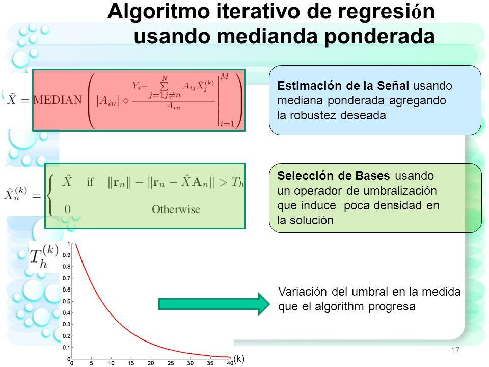 Algoritmo iterativo de regresión usando medianda ponderada