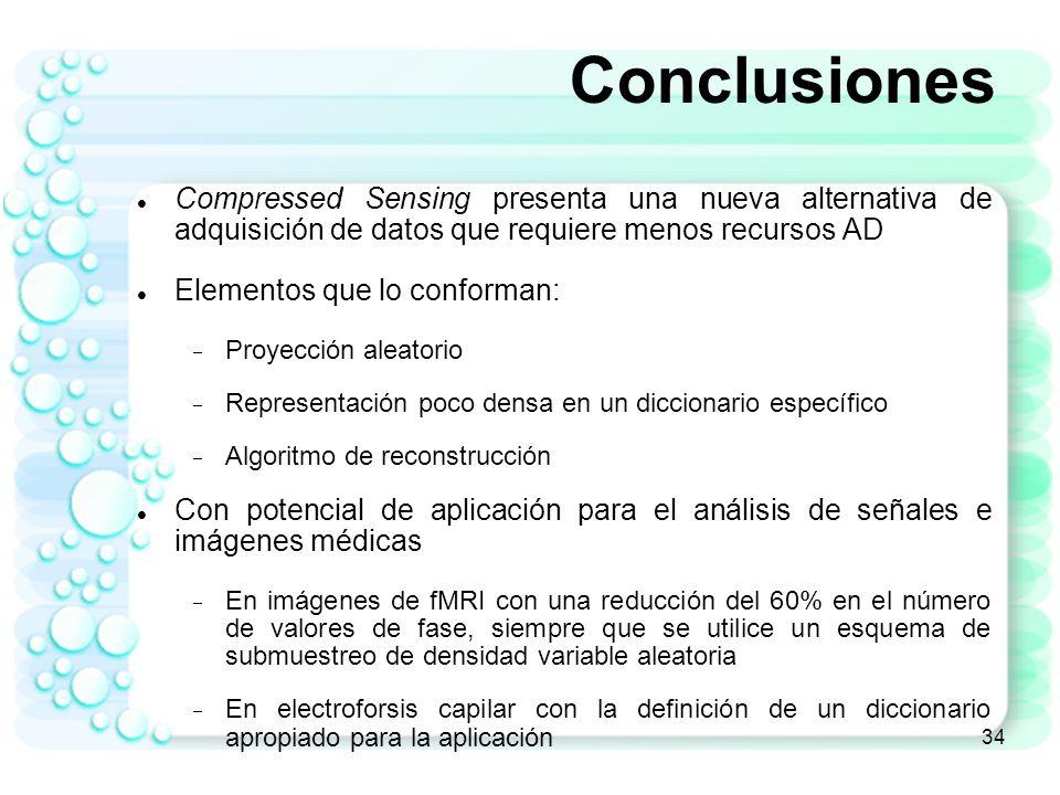 Conclusiones Compressed Sensing presenta una nueva alternativa de adquisición de datos que requiere menos recursos AD.