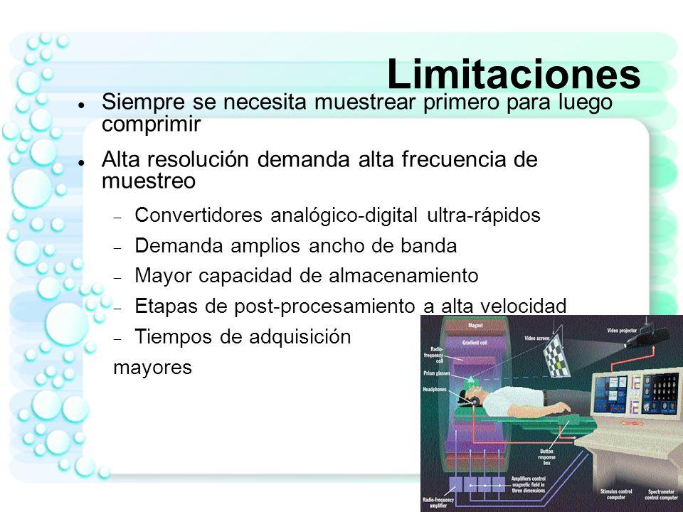 Limitaciones Siempre se necesita muestrear primero para luego comprimir. Alta resolución demanda alta frecuencia de muestreo.