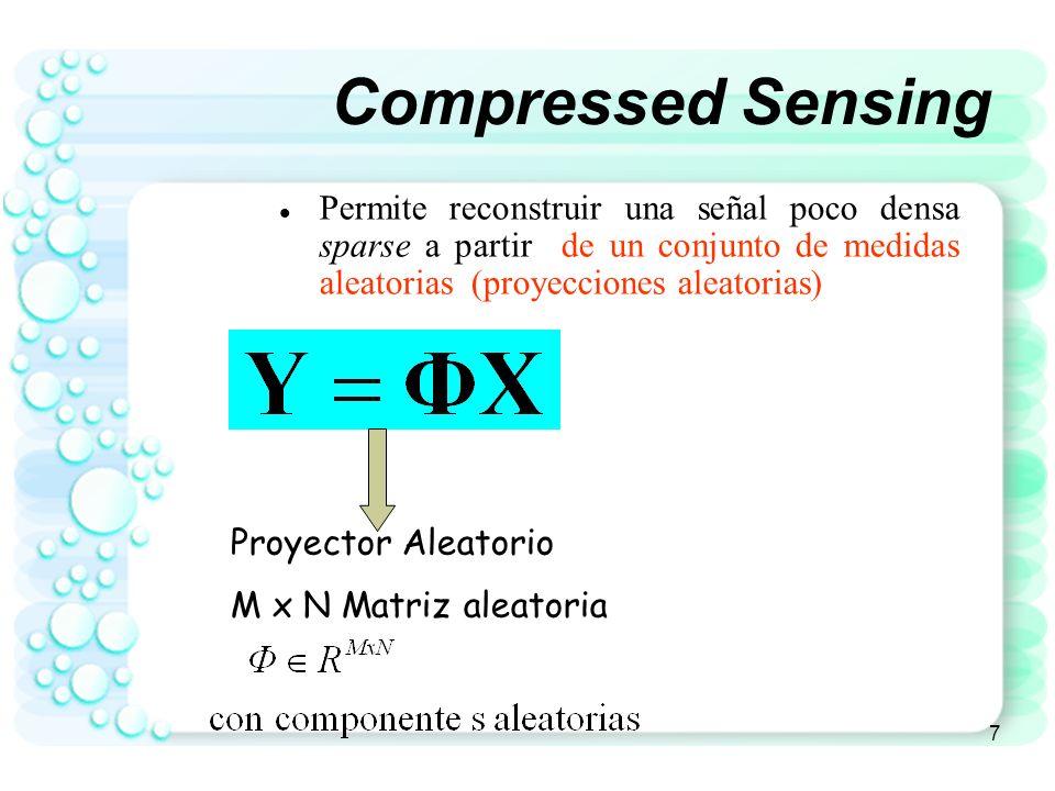 Compressed Sensing Permite reconstruir una señal poco densa sparse a partir de un conjunto de medidas aleatorias (proyecciones aleatorias)