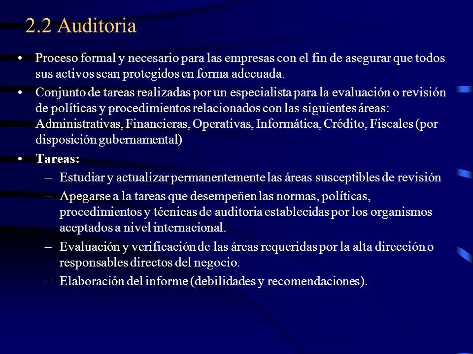 2.2 Auditoria Proceso formal y necesario para las empresas con el fin de asegurar que todos sus activos sean protegidos en forma adecuada.