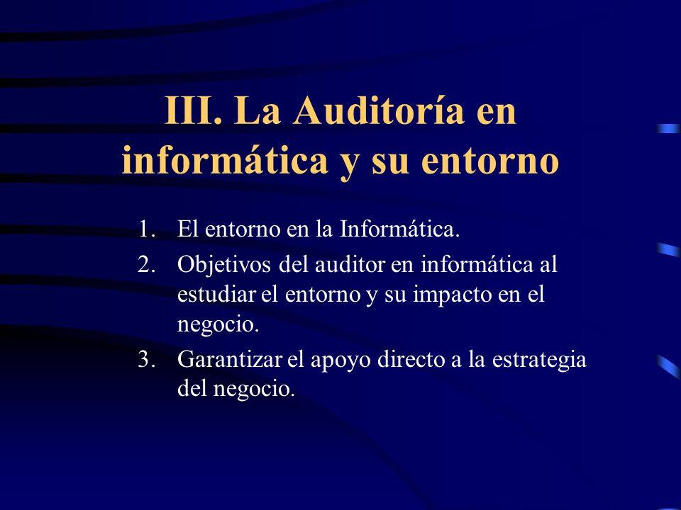 III. La Auditoría en informática y su entorno