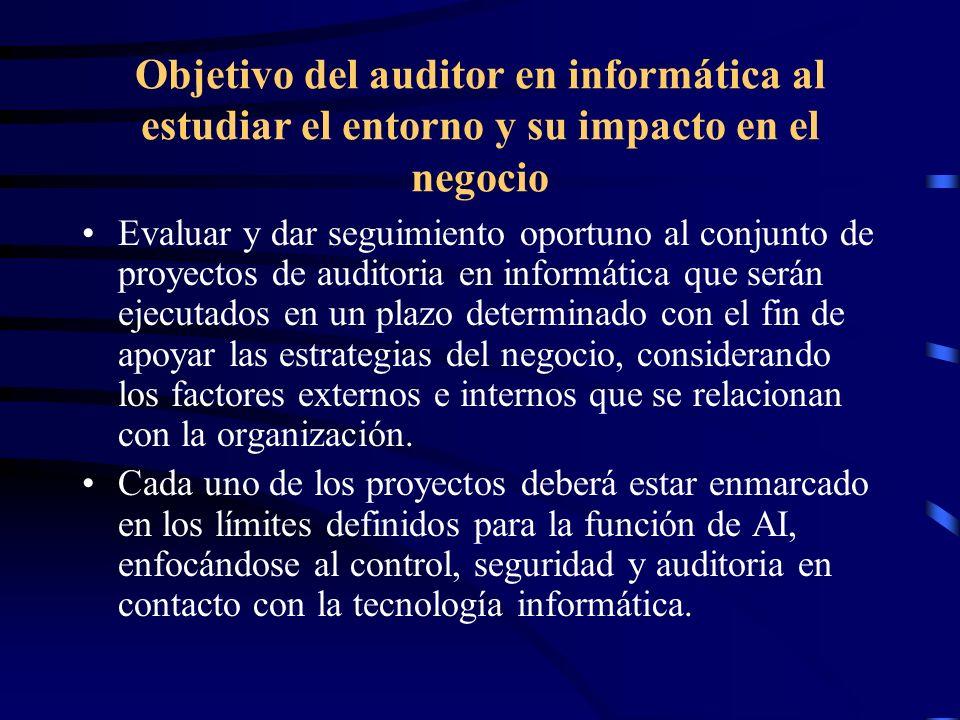 Objetivo del auditor en informática al estudiar el entorno y su impacto en el negocio