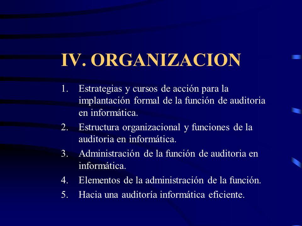 IV. ORGANIZACION Estrategias y cursos de acción para la implantación formal de la función de auditoria en informática.