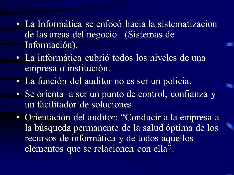 La Informática se enfocó hacia la sistematizacion de las áreas del negocio. (Sistemas de Información).