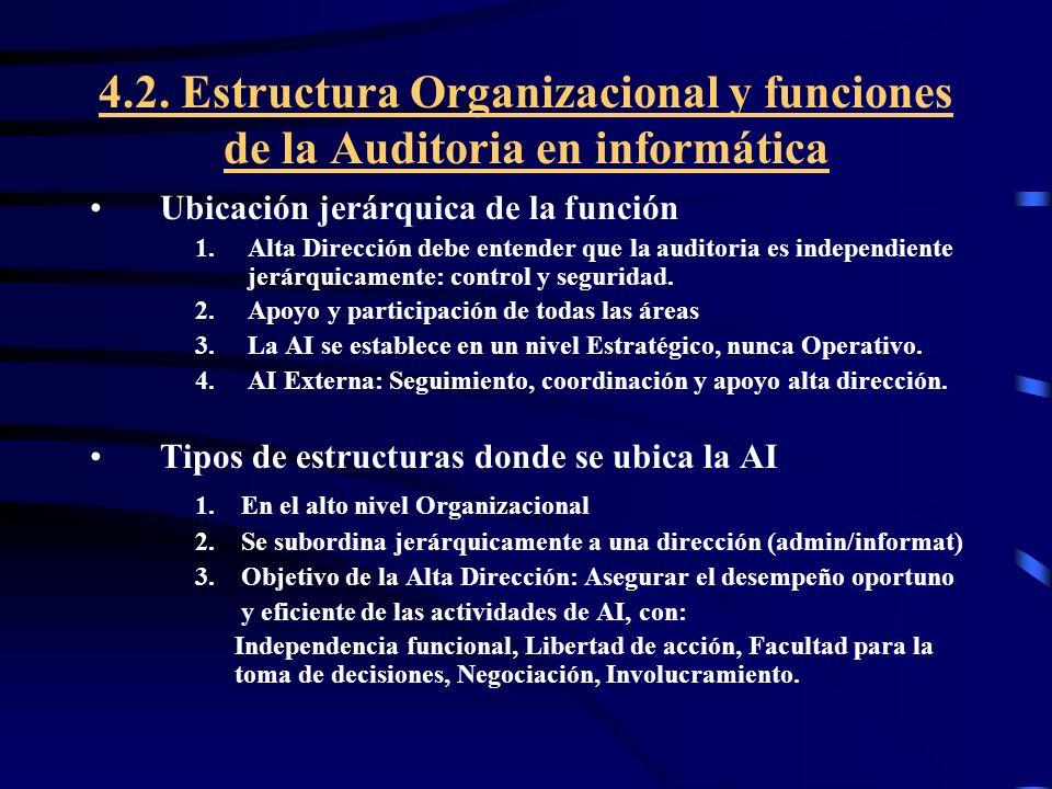 4.2. Estructura Organizacional y funciones de la Auditoria en informática