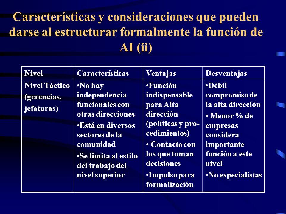 Características y consideraciones que pueden darse al estructurar formalmente la función de AI (ii)