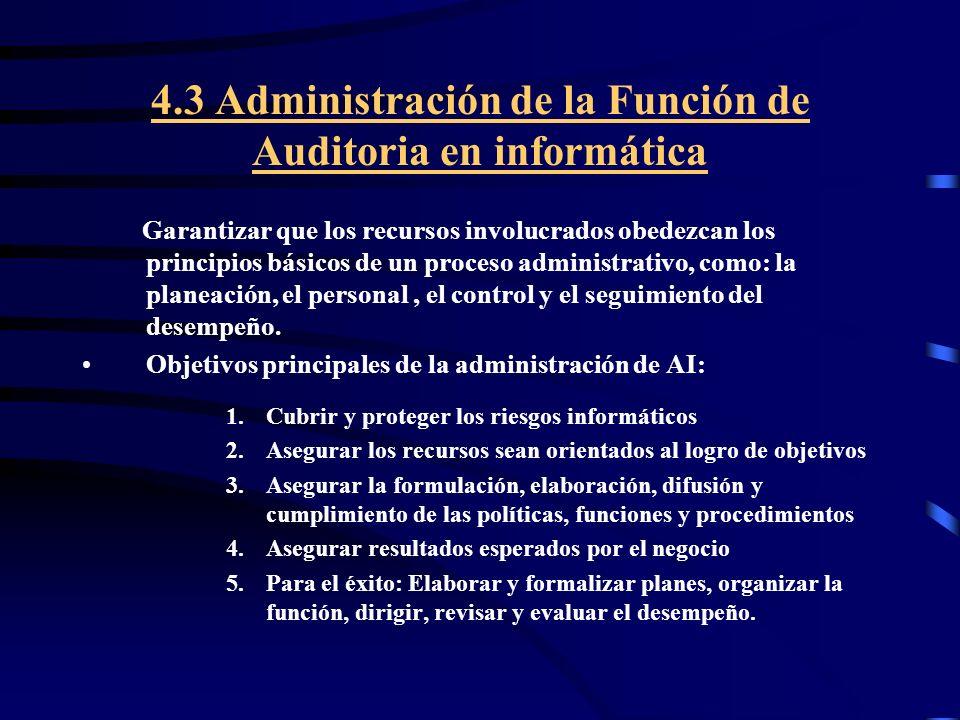 4.3 Administración de la Función de Auditoria en informática