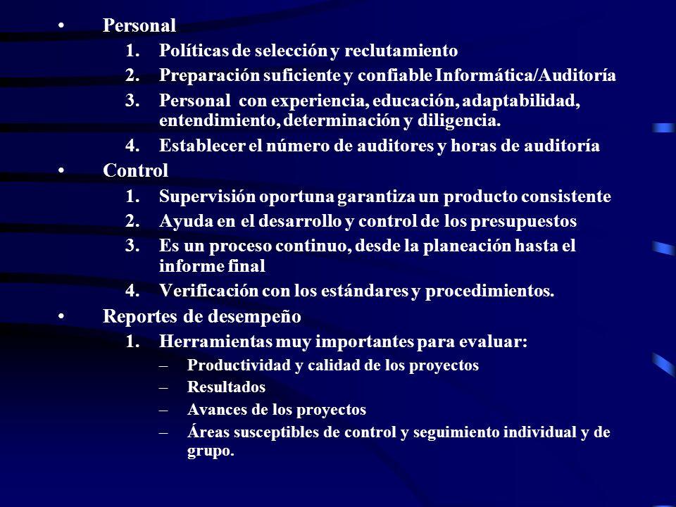 Personal Control Reportes de desempeño