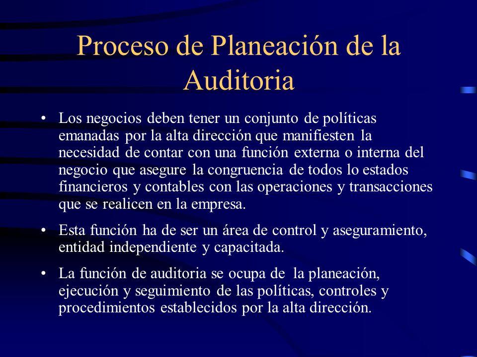 Proceso de Planeación de la Auditoria