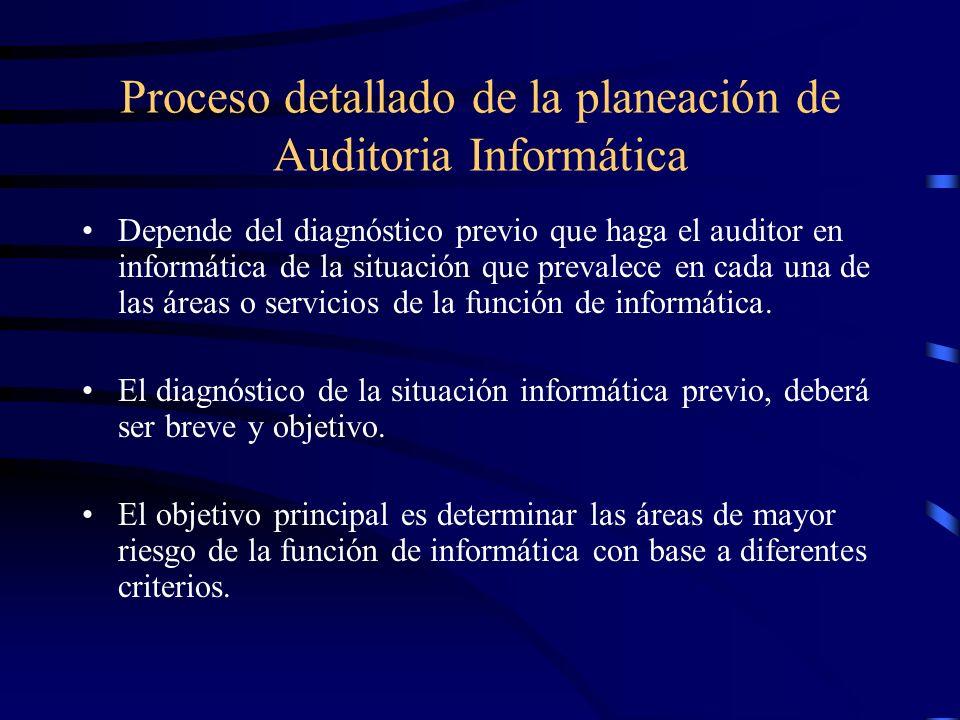 Proceso detallado de la planeación de Auditoria Informática