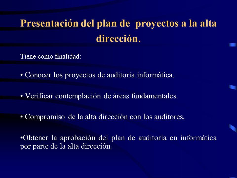 Presentación del plan de proyectos a la alta dirección.