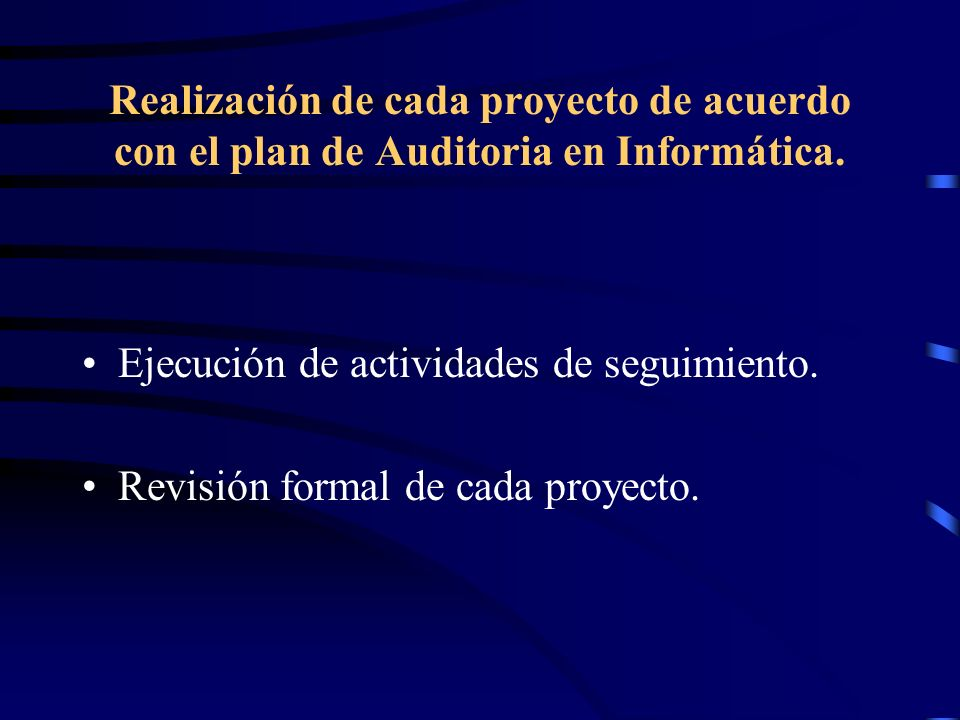 Realización de cada proyecto de acuerdo con el plan de Auditoria en Informática.