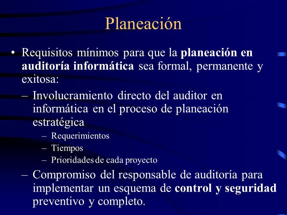 Planeación Requisitos mínimos para que la planeación en auditoría informática sea formal, permanente y exitosa: