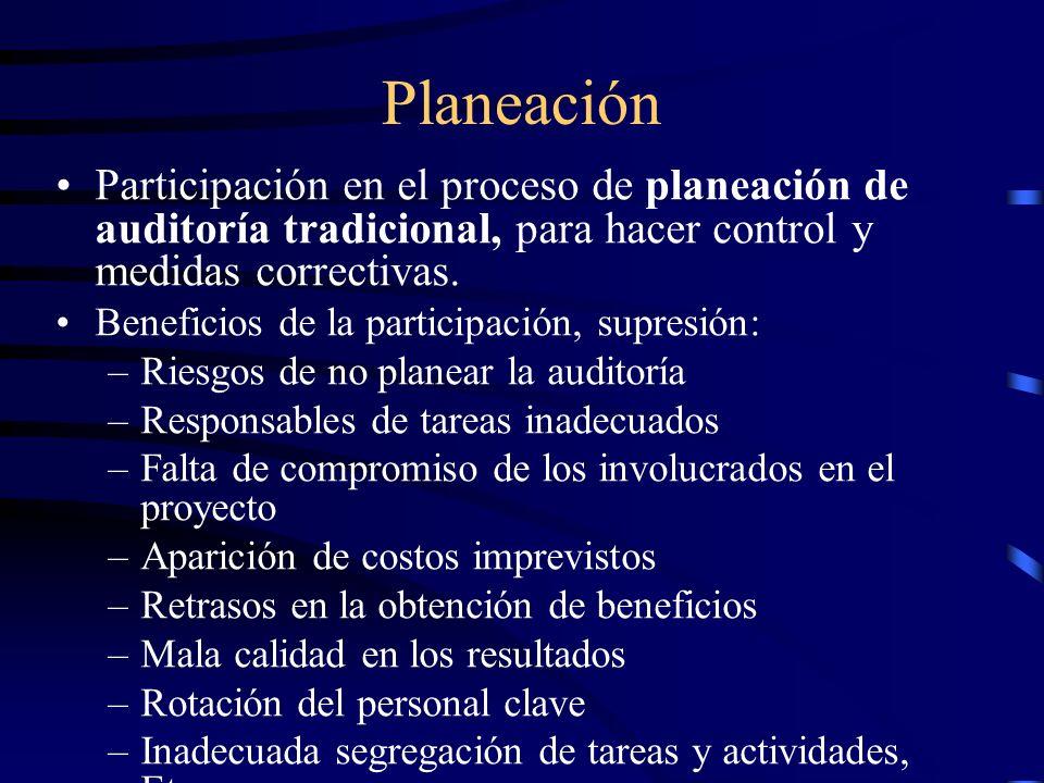 PlaneaciónParticipación en el proceso de planeación de auditoría tradicional, para hacer control y medidas correctivas.