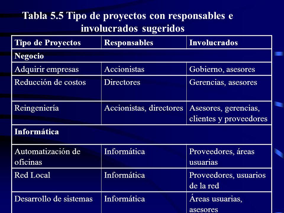 Tabla 5.5 Tipo de proyectos con responsables e involucrados sugeridos
