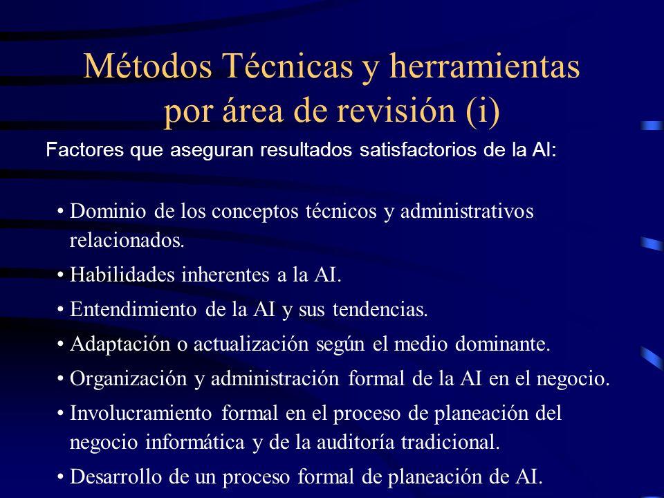 Métodos Técnicas y herramientas por área de revisión (i)