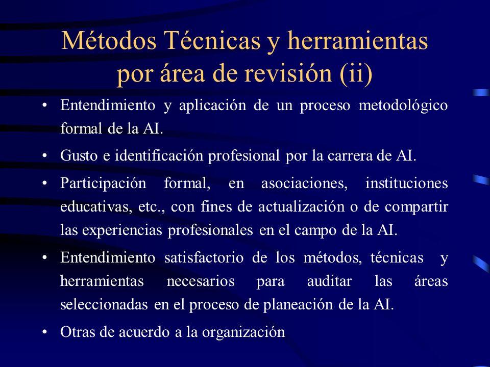 Métodos Técnicas y herramientas por área de revisión (ii)