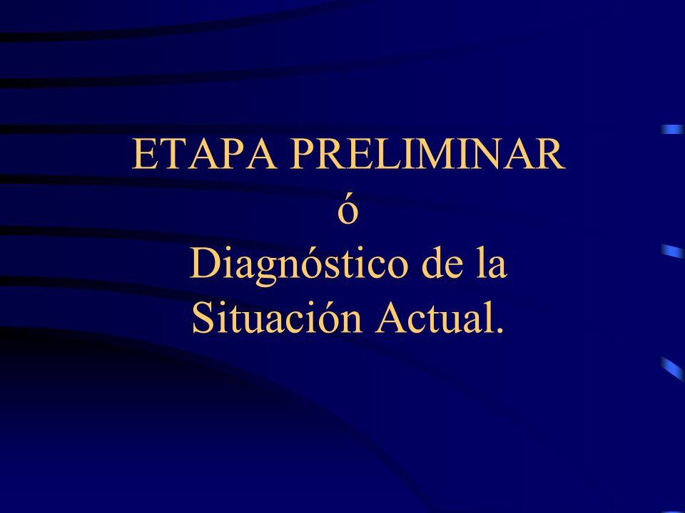 ETAPA PRELIMINAR ó Diagnóstico de la Situación Actual.