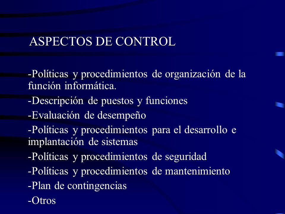 ASPECTOS DE CONTROL Políticas y procedimientos de organización de la función informática. Descripción de puestos y funciones.