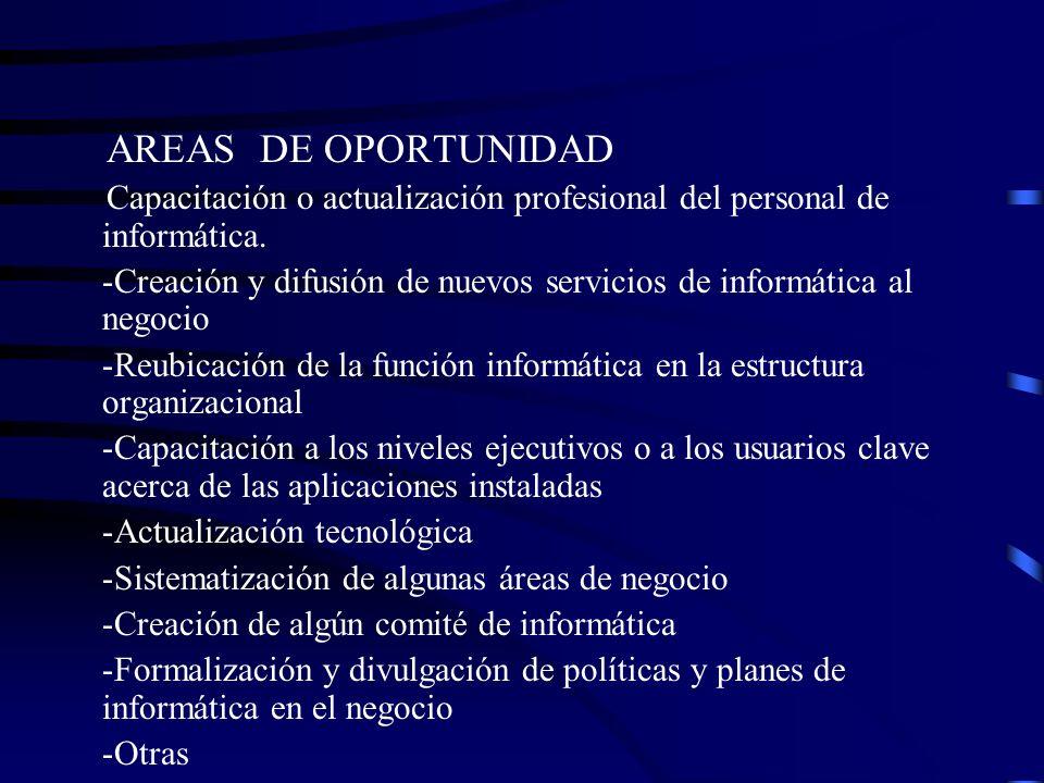 AREAS DE OPORTUNIDAD Capacitación o actualización profesional del personal de informática.