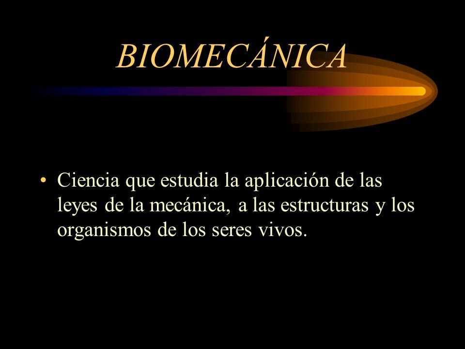BIOMECÁNICA Ciencia que estudia la aplicación de las leyes de la mecánica, a las estructuras y los organismos de los seres vivos.