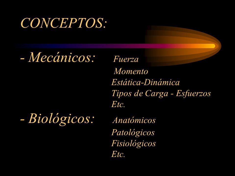 CONCEPTOS: - Mecánicos: Fuerza Momento Estática-Dinámica Tipos de Carga - Esfuerzos Etc.