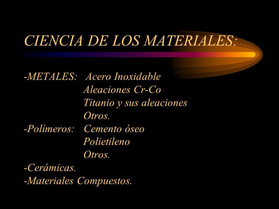 CIENCIA DE LOS MATERIALES: -METALES: Acero Inoxidable Aleaciones Cr-Co Titanio y sus aleaciones Otros.