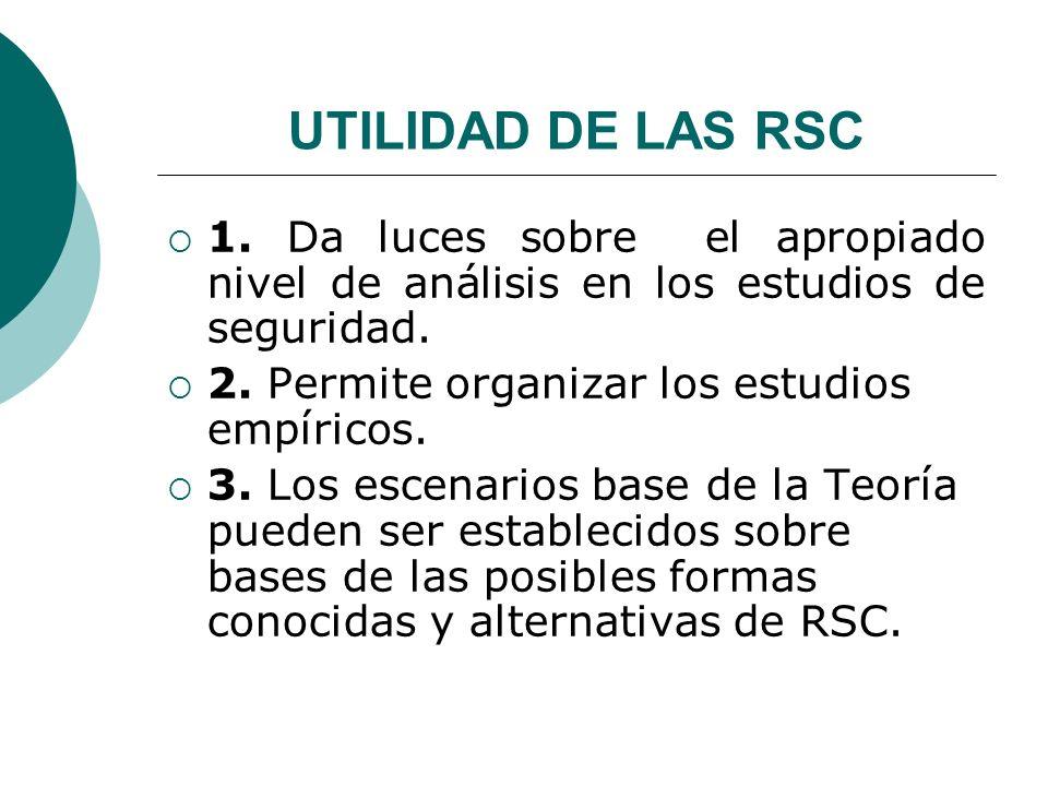 UTILIDAD DE LAS RSC 1. Da luces sobre el apropiado nivel de análisis en los estudios de seguridad.