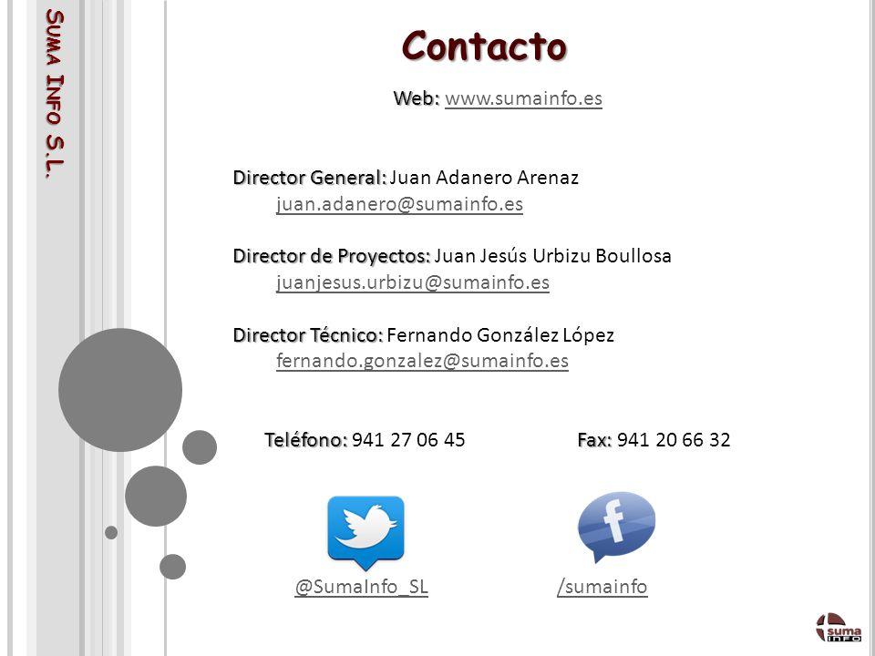 Contacto Suma Info S.L. Web: www.sumainfo.es. Director General: Juan Adanero Arenaz. juan.adanero@sumainfo.es.