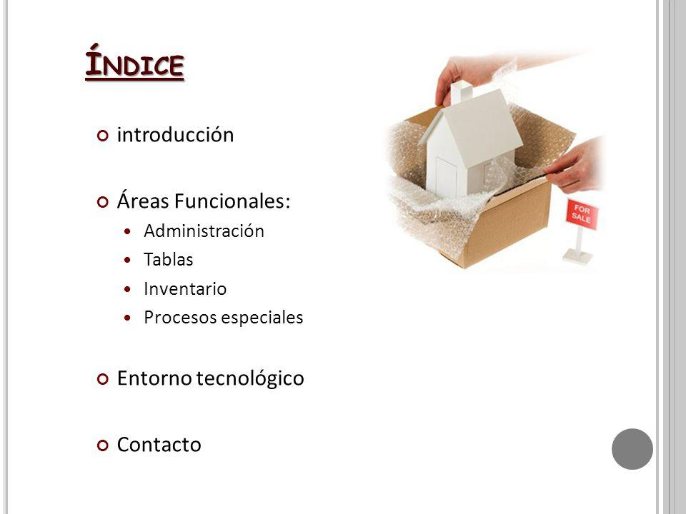 Índice introducción Áreas Funcionales: Entorno tecnológico Contacto