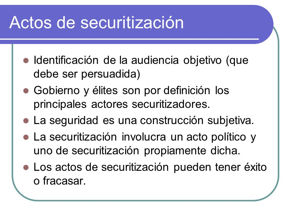 Actos de securitización