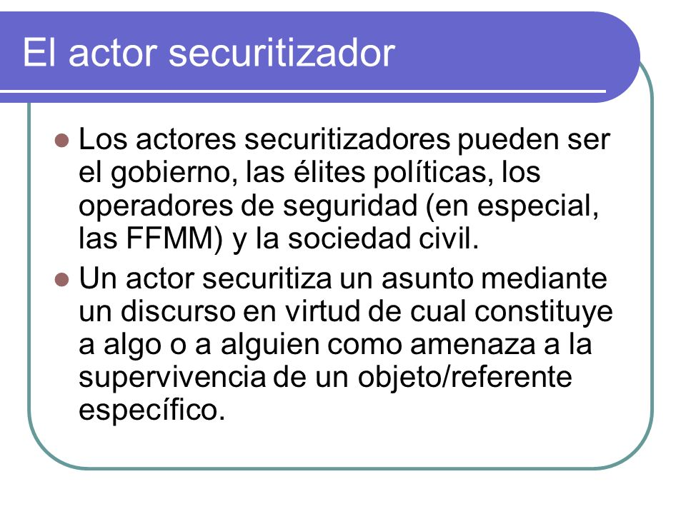 El actor securitizador