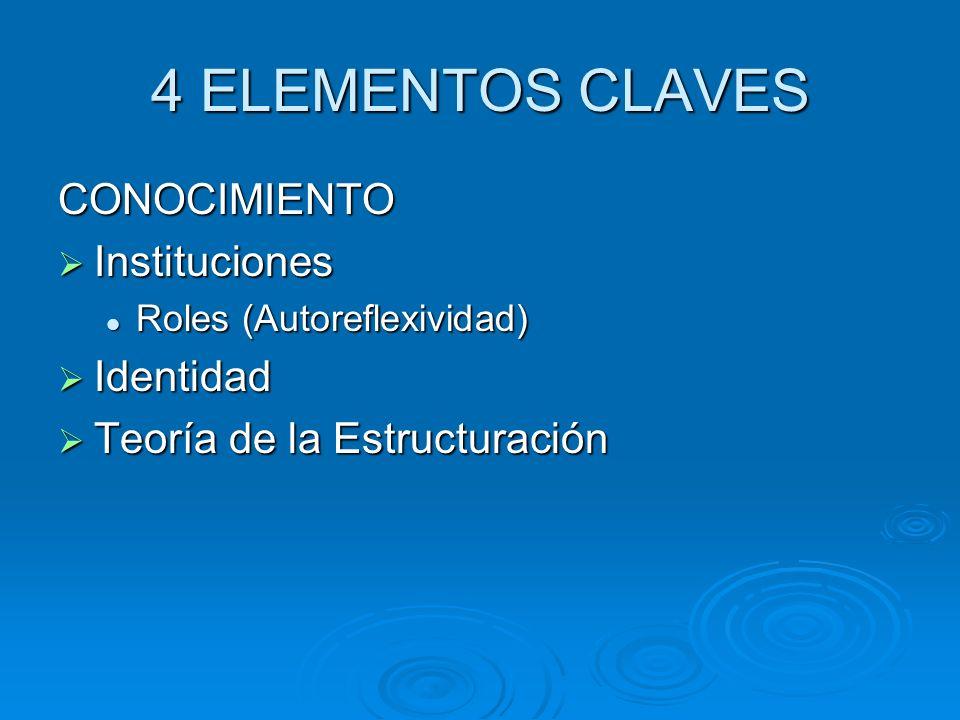 4 ELEMENTOS CLAVES CONOCIMIENTO Instituciones Identidad