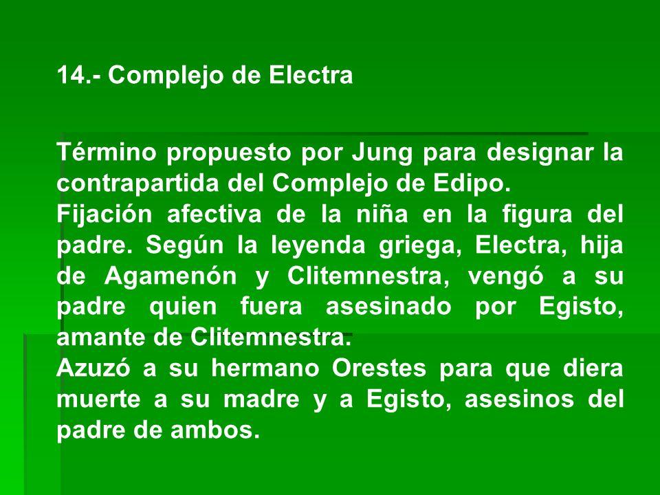 14.- Complejo de Electra Término propuesto por Jung para designar la contrapartida del Complejo de Edipo.